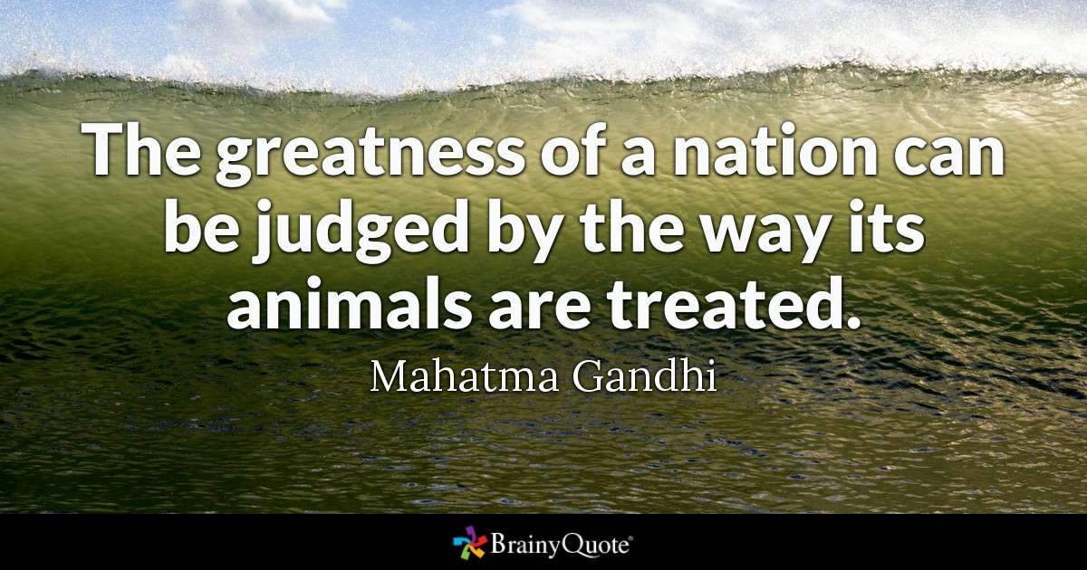 Quote The Greatness Of A Nation Can Be Judged By The Way Its Animals Are Treated