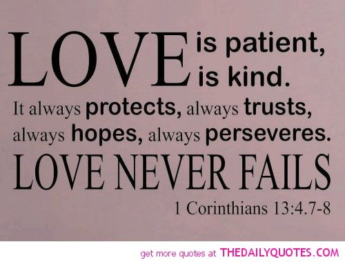 Patient Bible Quotes About Love Kind Protects Always Trusts Hopes Veres Never Fails Purple White