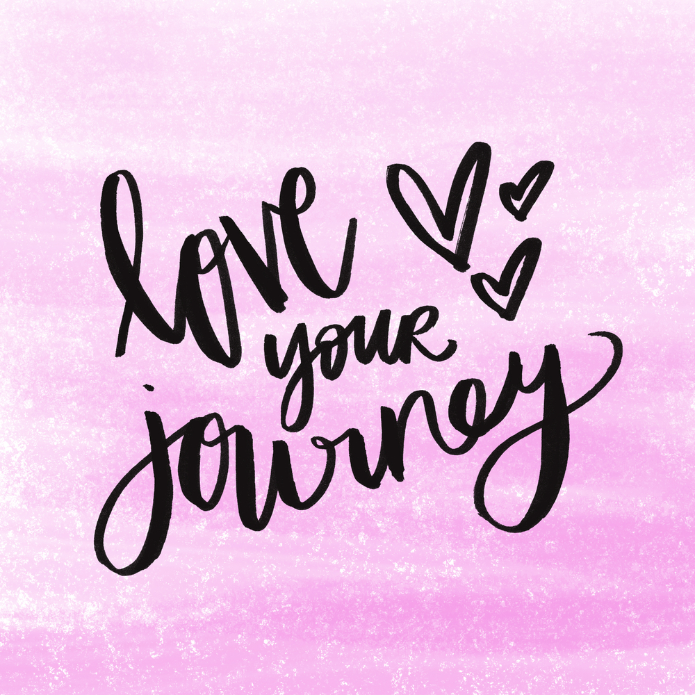 Love Your Journey Quote On Pink Background