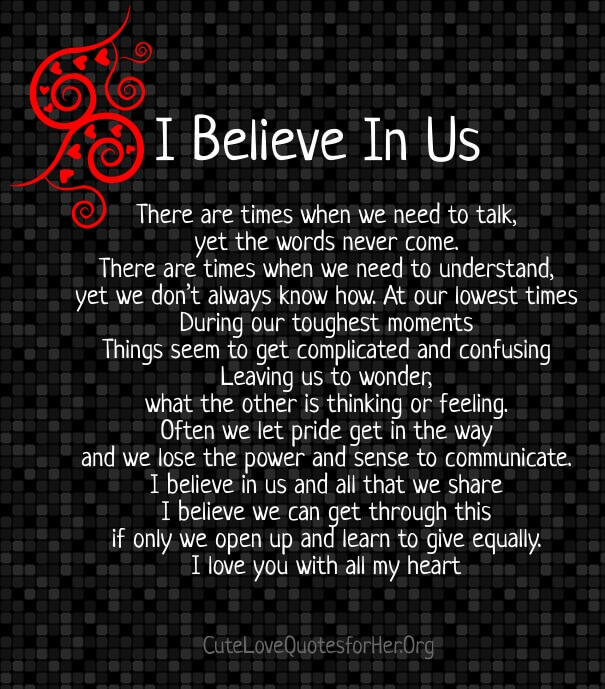 I Believe In Us Difficult Times Love Poem Troubled Relationship