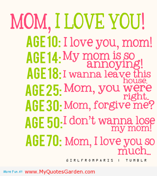 Tumblr Lihgxtdxoqbyrio  Mom I Love You Experience Of Different Ages Mothers Love Quotes
