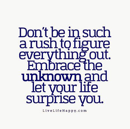 Dont Be In Such A Rush To Figure Everything Out Em Ce The Unknown And Let Your Life Surprise You Livelifehappy Com Life Quotes Pinterest Wisdom