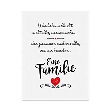 Kunstdruck Poster Mit Spruch Eine Familie Typografie Bild Auf Hochwertigem Karton