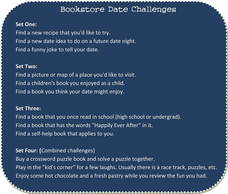 Bookstore Or Library Date Challenges