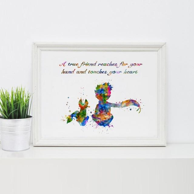 Der Kleine Prinz Mit Der Fuchs Kinder Schlafzimmer Dekor Kinder Aquarell Kunst Malerei Geschenk Zitate Kunstdruck