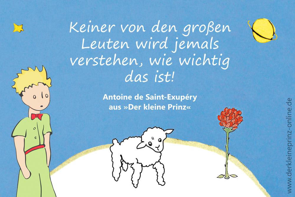 Zitat Von Antoine De Saint Exupery Keiner Von Den Grosen Leuten Wird Jemals Verstehen Wie Wichtig Das Ist Zitat