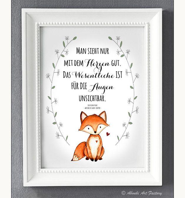 Kunstdruck Mit Fuchs Motiv Und Zitat Antoine De Saint Exupery Der Kleine Prinz  E  A Man Sieht Nur Mit Dem Herzen Gut Das Wesentliche Ist Fur Augen