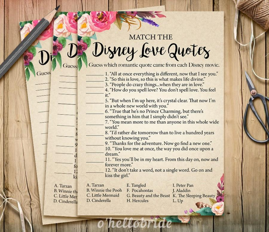 Disney Love Quotes Match Game Printable Boho Bohemian Bridal Shower Love Quotes Game Bridal Shower Game Bachelorette Party Games