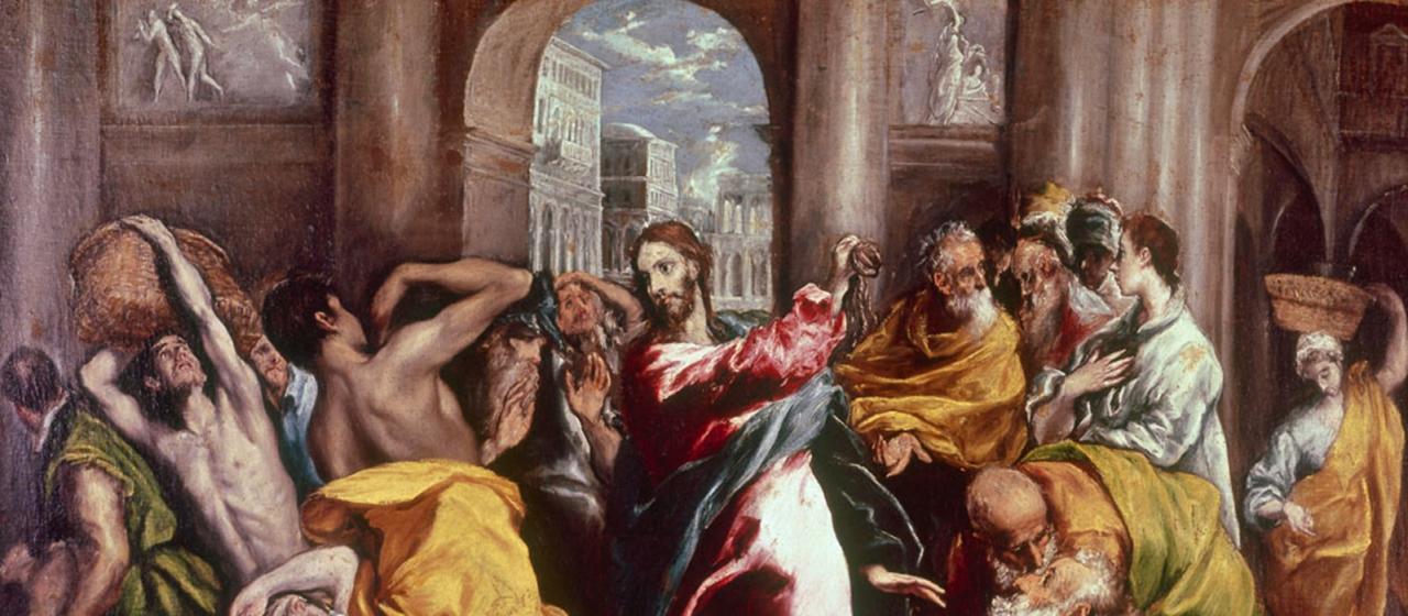 Jesus Vertreibt Handler Aus Dem Tempel Ausschnitt Aus Einem Gemalde Von El Greco