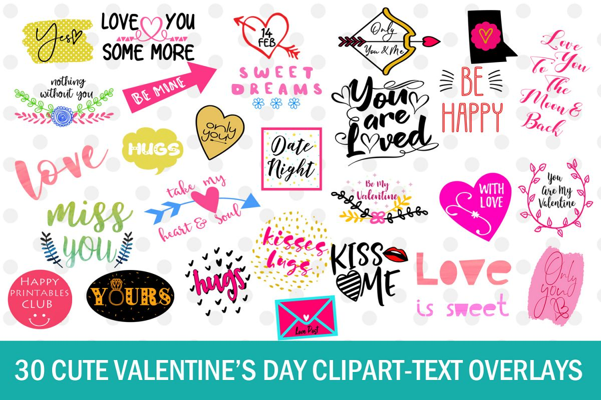 Cute Valentines Day Clipart Text Overlays Quotes Example Image