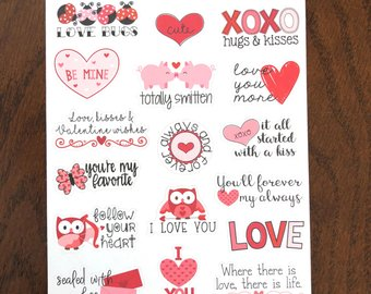 Valentine Sayings Planner Stickers Love Quote Stickers Valentines Day Stickers Heart Stickers Valentines Quotes February