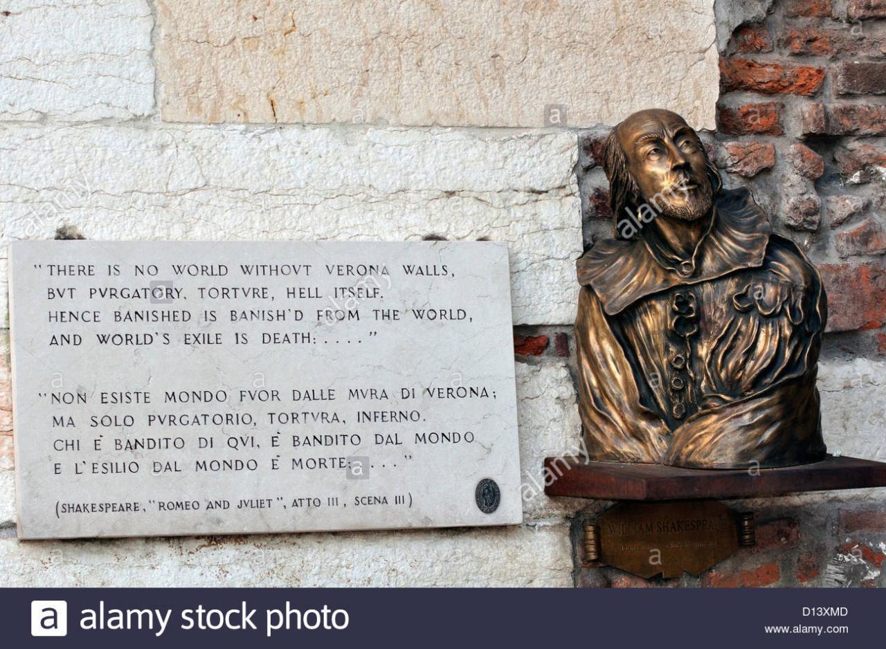 Italien Veneto Verona William Shakespeare Buste Und Ein Zitat Aus Romeo Und Julia