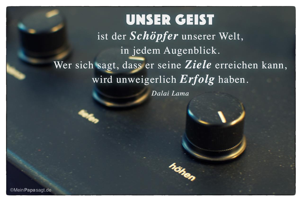 Alter Plattenspieler Mit Dem Dalai Lama Zitat Unser Geist Ist Der Schopfer Unserer Welt
