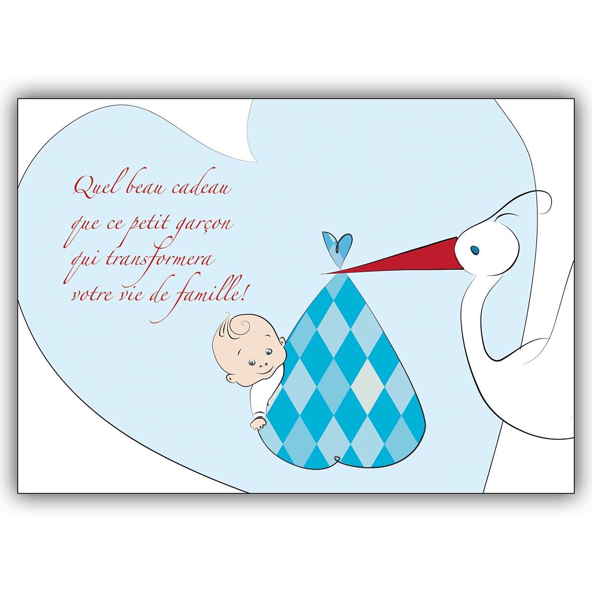 Franzosische Babykarte Junge Gluckwunsch Zur Geburt Mit Storch Und Herz