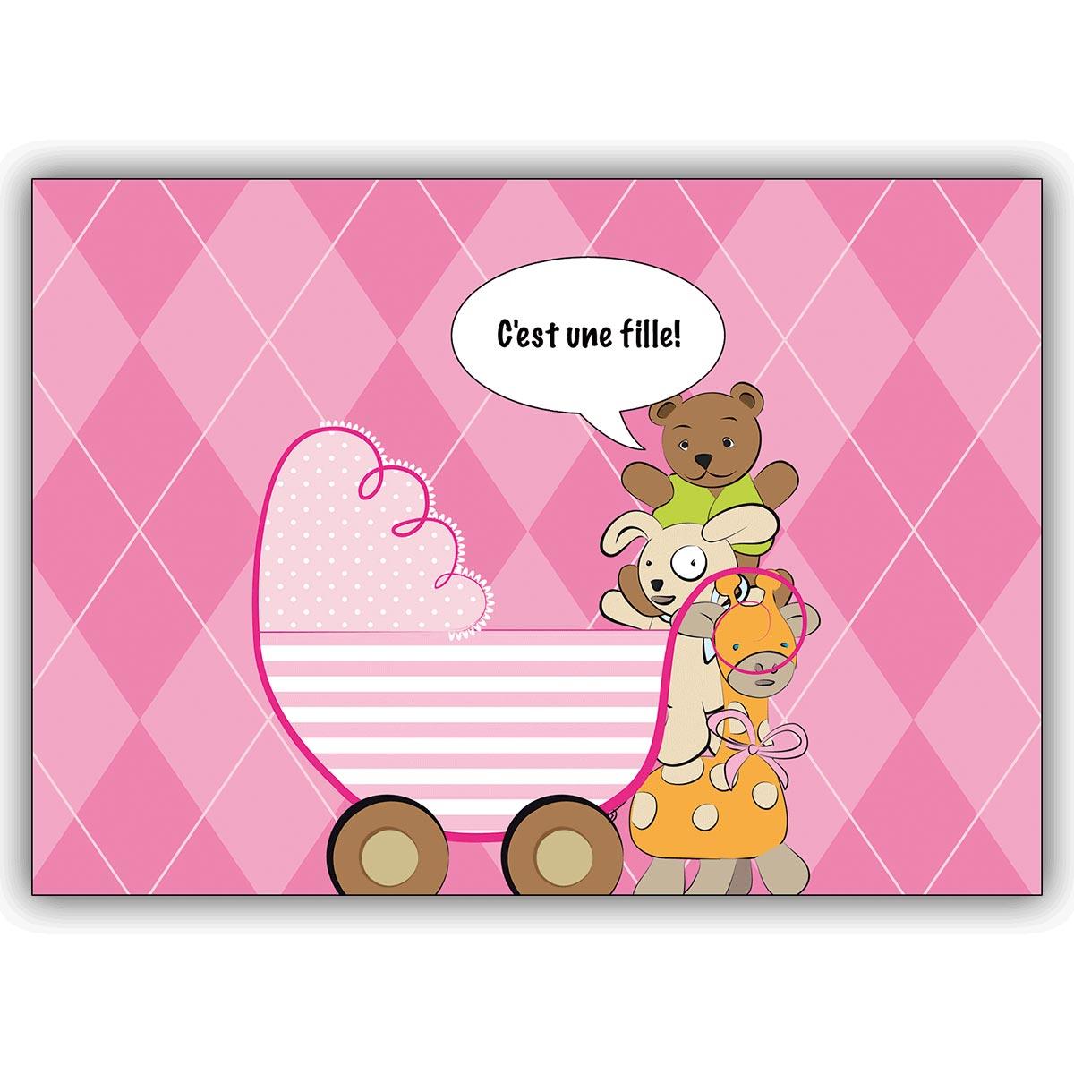 Rosa Franzosische Babykarte Madchen Mit Kinderwagen Cest Une Fille