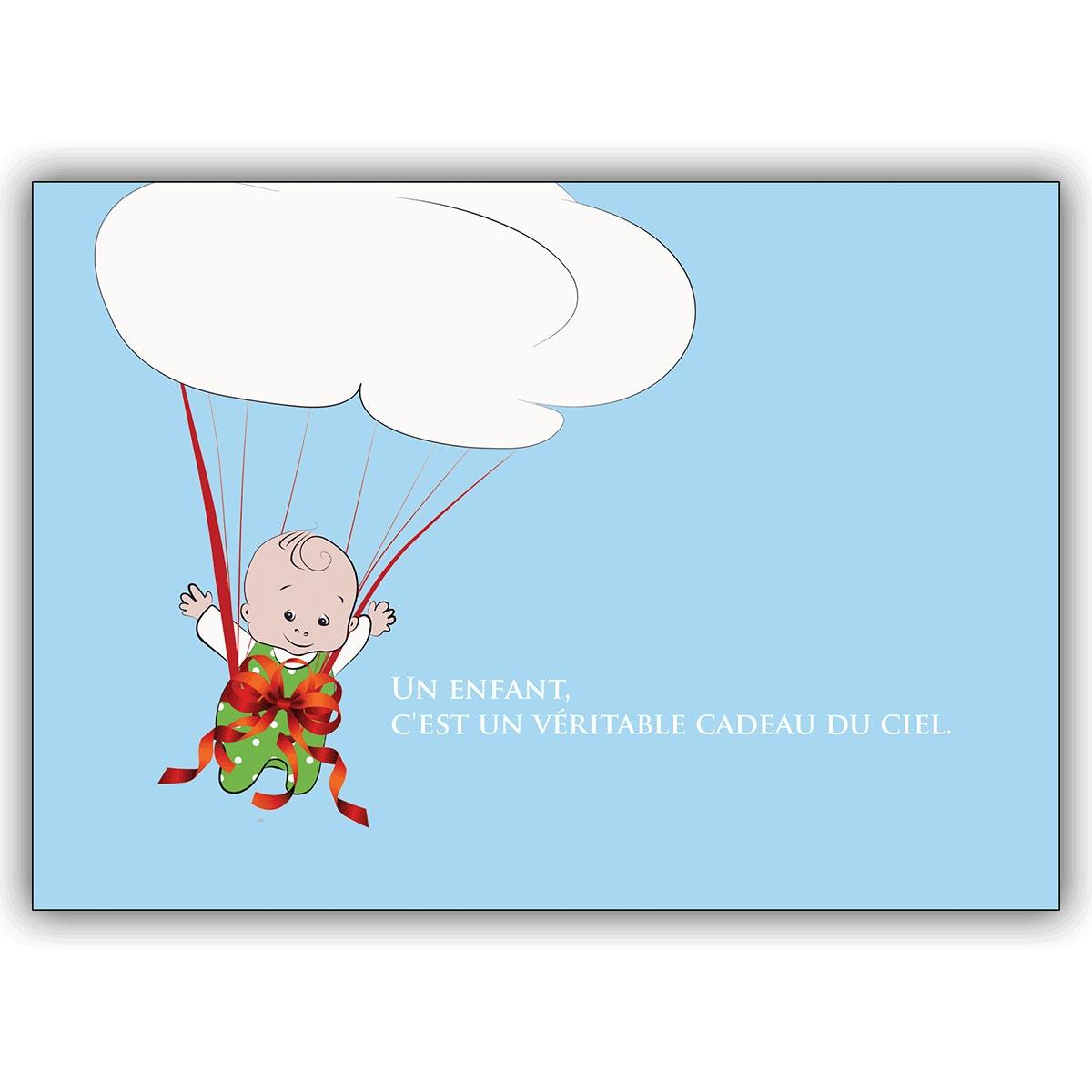 Franzosische Babykarte Mit Fallschirm Baby Und Wolke Un Enfant Cest Un