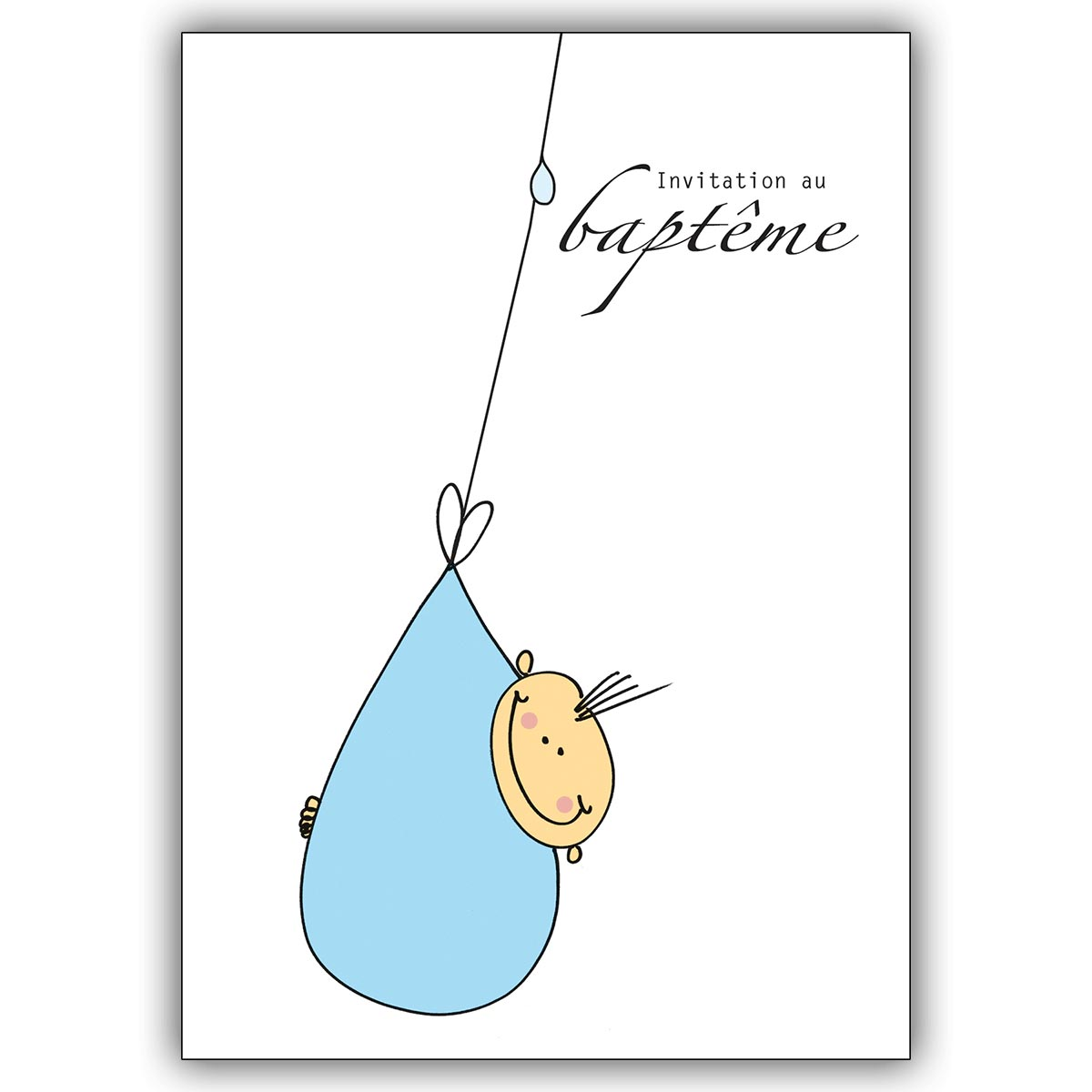 Niedliche Franzosische Einladungskarte Zur Taufe Mit Baby Jungen