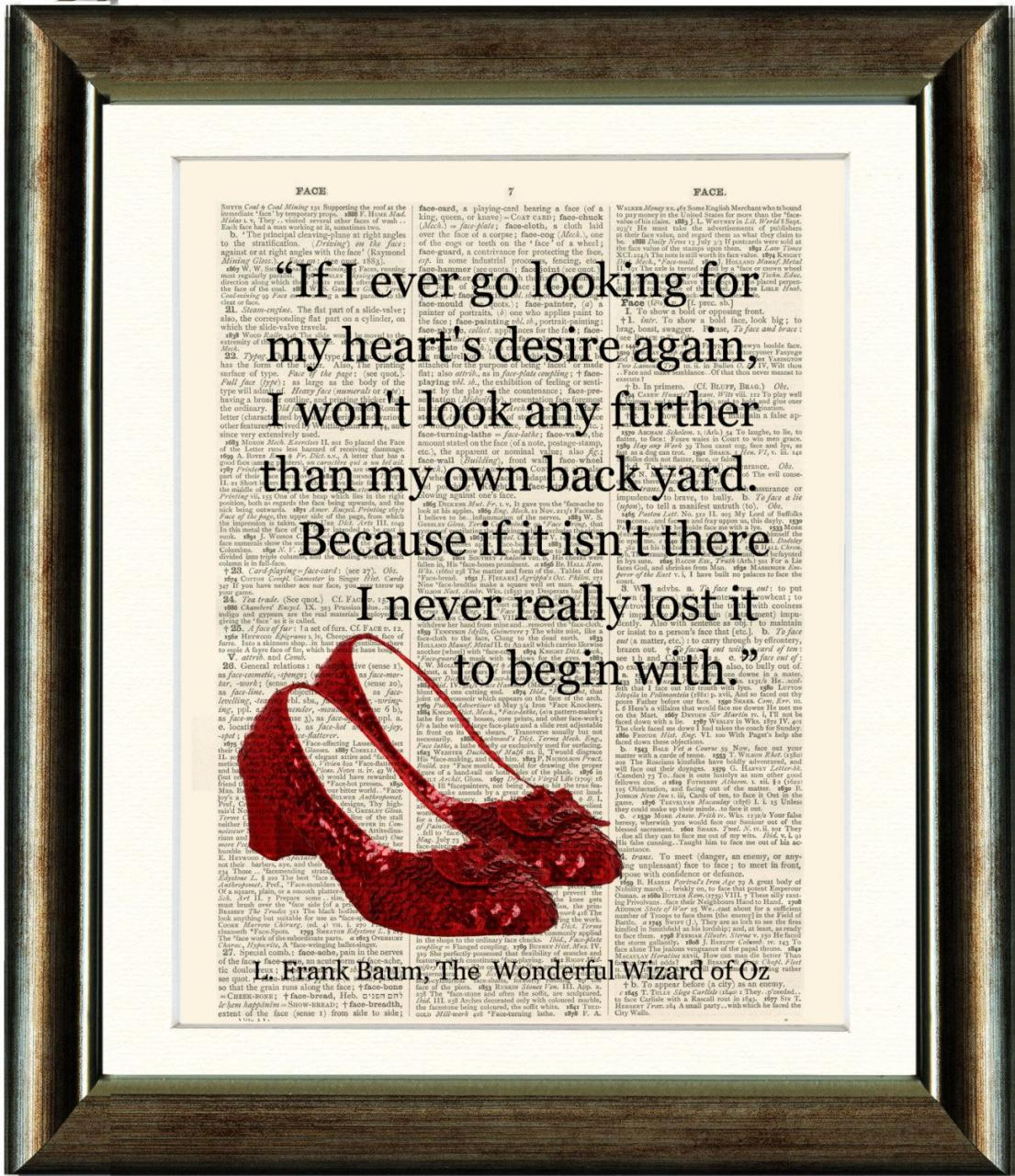 Ruby Slippers Wizard Of Oz Heart Quote Vintage By Pixelartprints