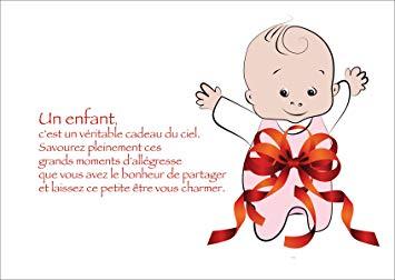 Suse Babykarte Gluckwunschkarte Zur Geburt Franzosisch Mit Baby Girl In Geschenkschleife Un