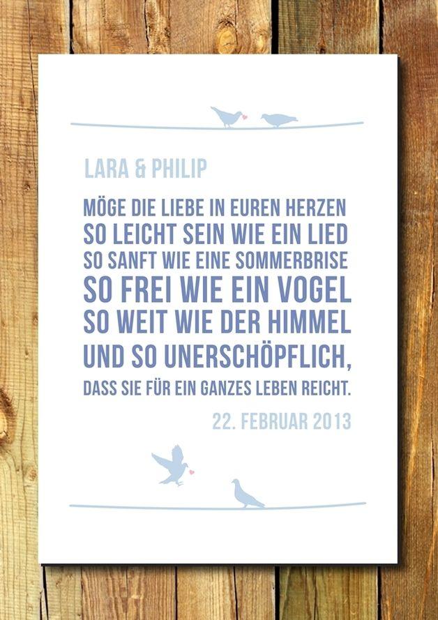 Druck Wandbild Print Segenswunsch Hochzeit Modern Und Doch Romantisch Personalisierter Segenswunsch Fur Verliebte Verlobte Und Verheiratete