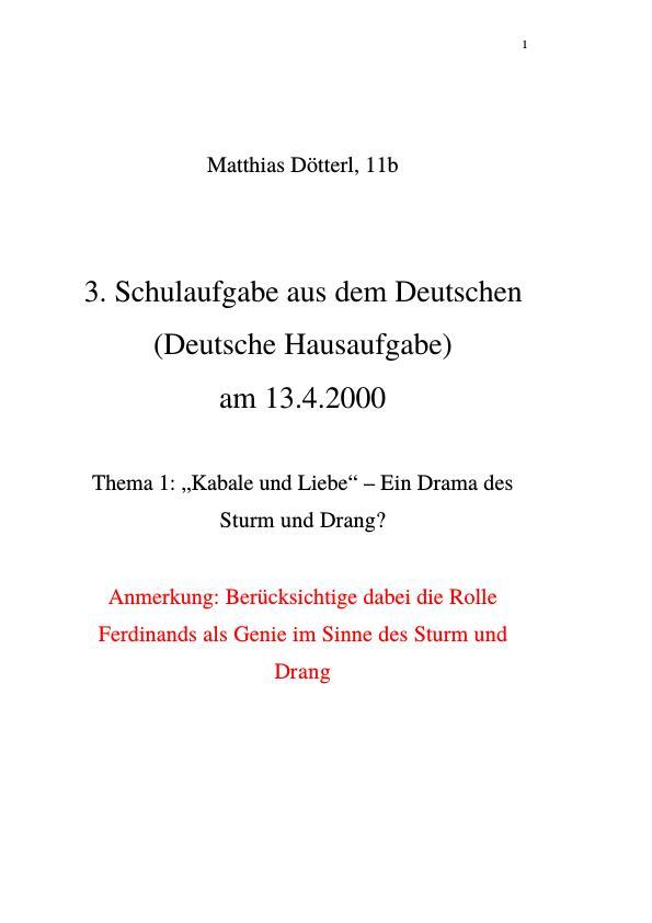 Kabale Und Liebe Ferdinand Ein Genie Im Sinne Des Sturm Und
