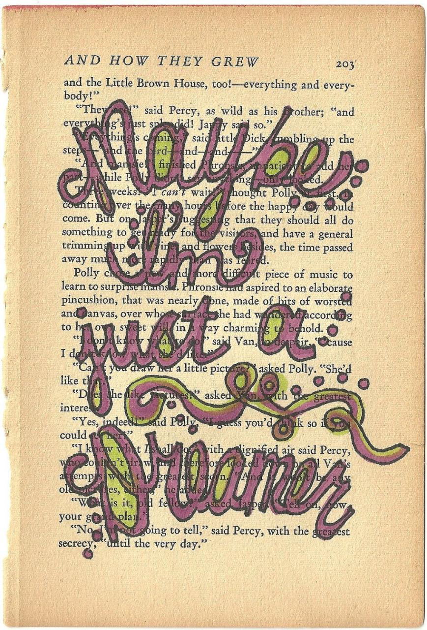 Maybe Im Just A Dreamer Beatles Lyric Quote On Vintage Book Paper Autumnsensation