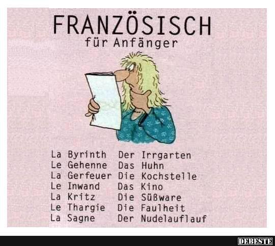 Franzosisch Fur Anfanger Lustige Bilder Spruche Witze Echt Lustig