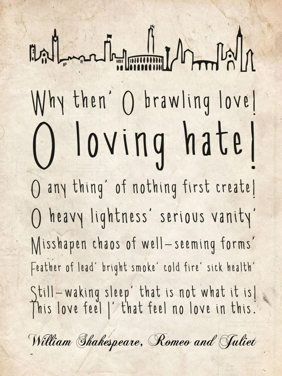 Typography Romeo And Juliet Quote By Romeojulietstudio On Etsy E