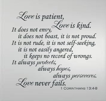 Buy   Love Is Patient Love Is Kind Love Never Fails Vinyl Wall Decal Christian Scriptural Bible Quote Large Size X In Cheap Price
