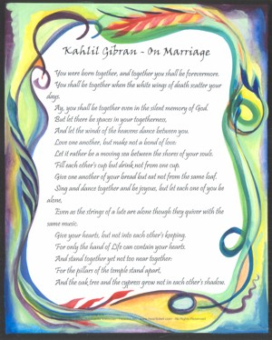 On Marriage Kahlil Gi N Poster X Heartful Art By Raphaella Vaisseau