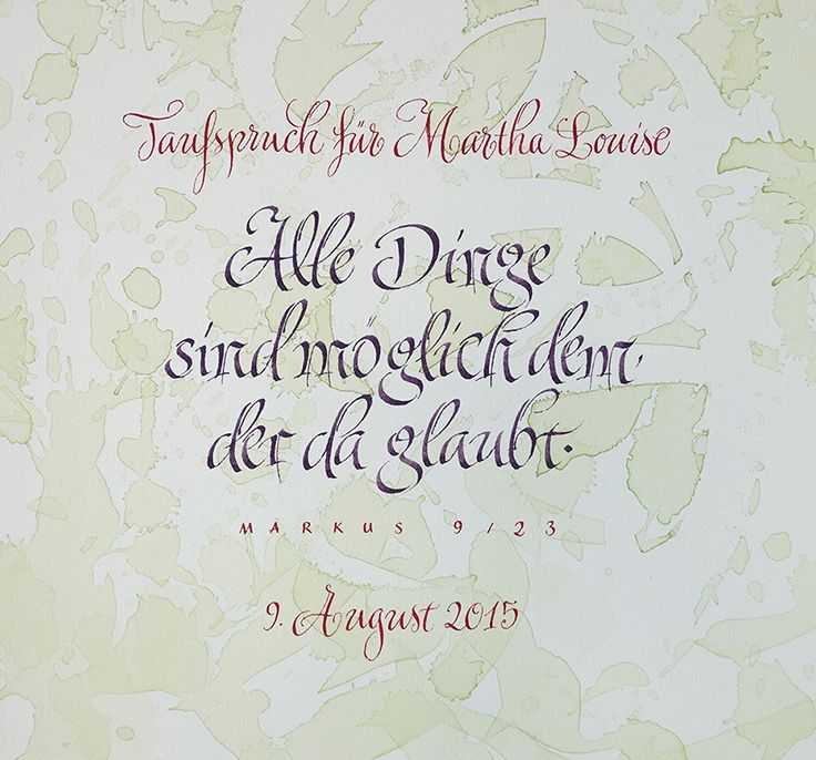 Taufspruch Schoenschrift Handlettering Kalligrafie Calligraphy Taufe