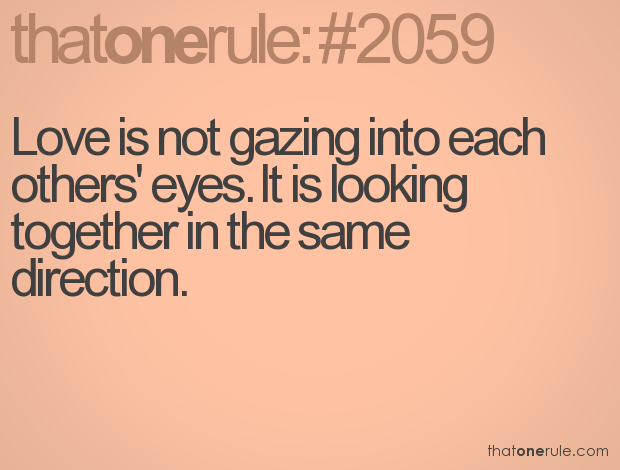 Love Is Not Gazing Into Each Others Eyes It Is Looking Together In The Same Direction My Favourite Quote About Love