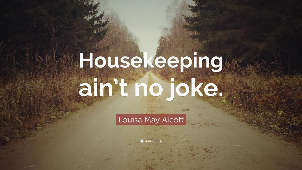 Louisa May Alcott Quote Housekeeping Aint No Joke