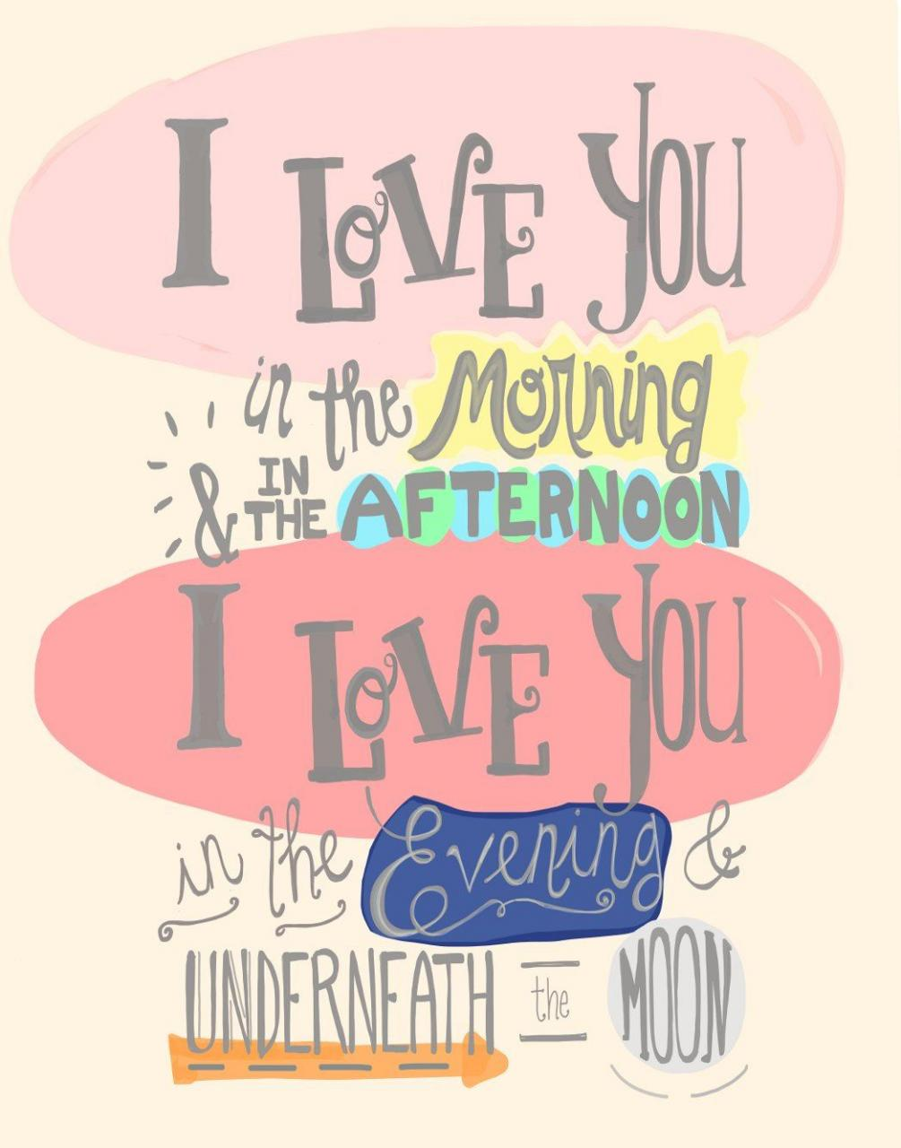 I Love You In The Morning Poster Print Baby Girl Nursery Wall Quote Hand Lettered Little Girl Room Decor Skidamarink X Child Song Art