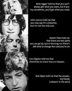Quotes From Rock Songs And From Three Famous Guitarist Song Writers