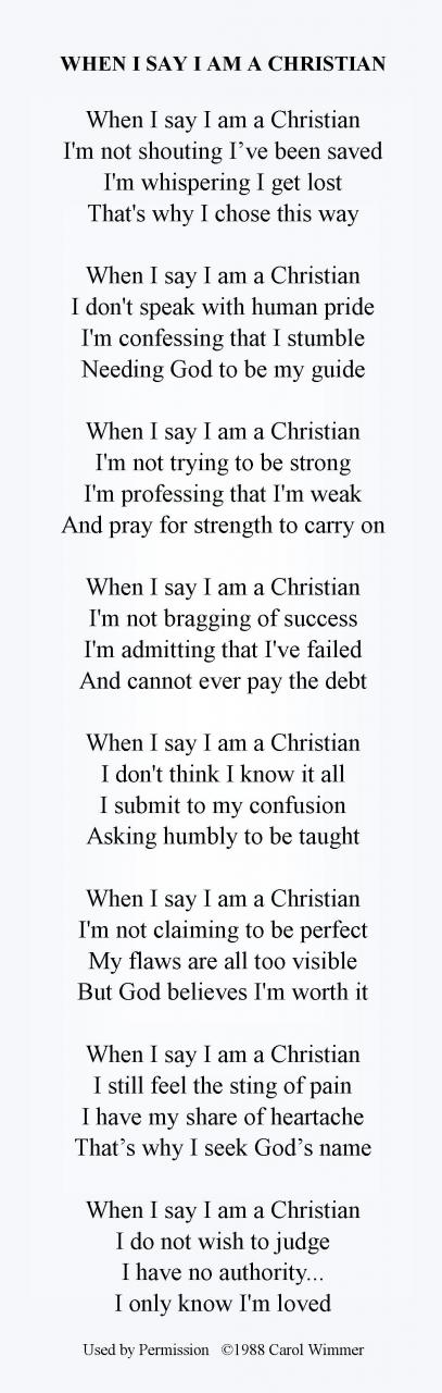 When I Say I Am A Christian Poem Just Words On White