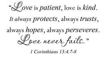 Amazon Com Wall Decal Sticker Quote Vinyl Large Love Is Patient Kind Corinthians Bible Home Kitchen