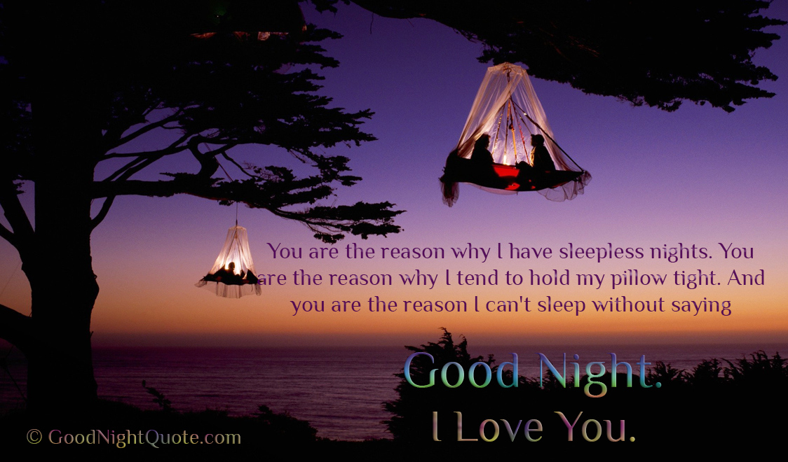 Good Night Romantic Quote With Cute Couple