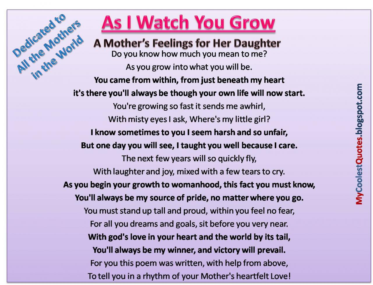 A Mothers Feelings For Her Daughter
