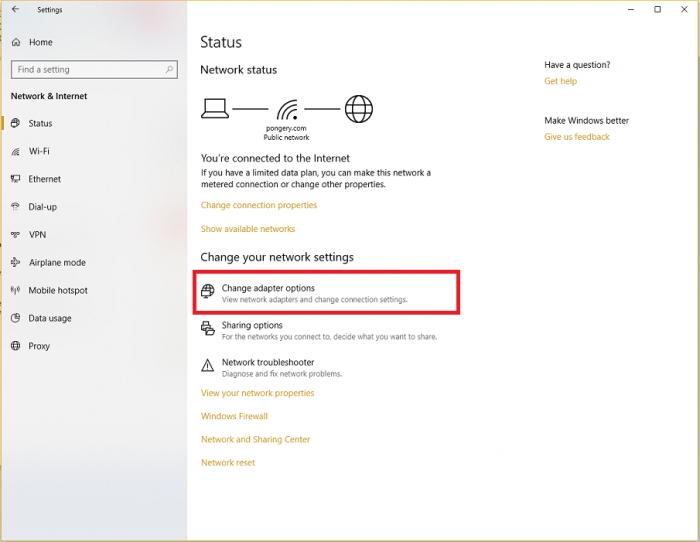 Network and Internet Status change adapter options - untuk melihat password WiFi jaringan wireless anda - Andrew Hidayat (AndrewHidayat.com)