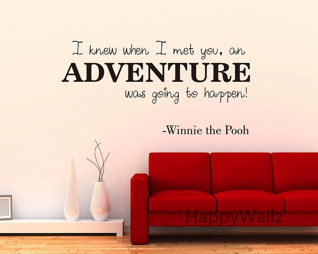 Winnie The Pooh Love Quote Wall Sticker Adventure Lettering Quote Wall Decal Diy Modern Love Custom