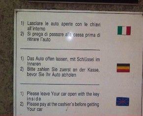 Italienisches Parkhaus  Ubersetzungitalienisch Sprachproblemefahneparkhausbelgien