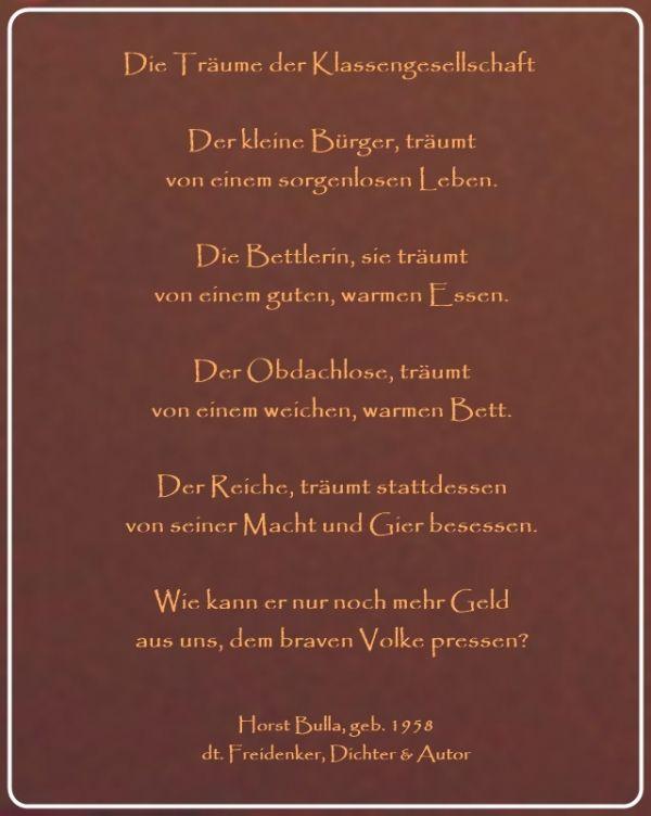 Bildgedicht Traume Der Klassengesellschaft Gedicht Von Horst Bulla Dt Freidenker Dichter