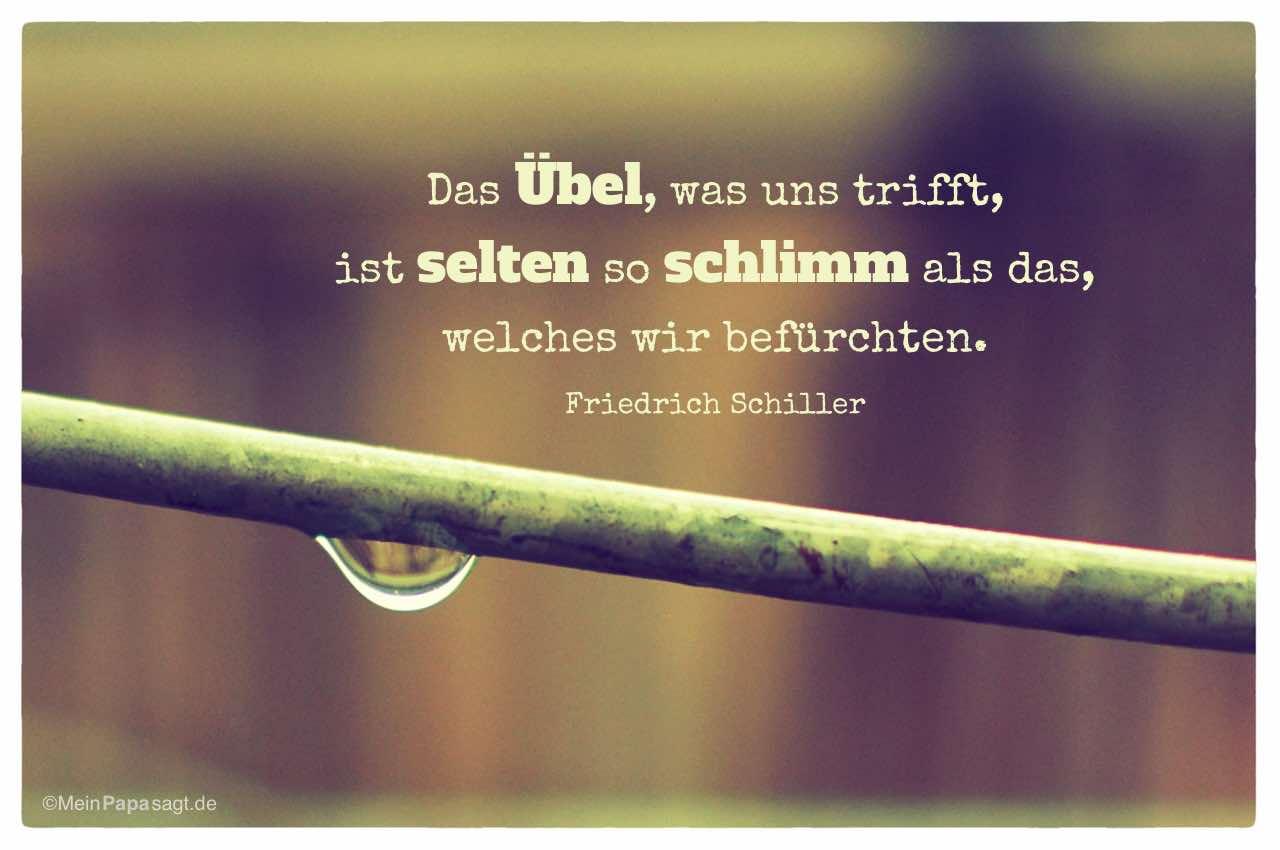 Regentropfen Mit Dem Friedrich Schiller Zitat Das Ubel Was Uns Trifft Ist Selten
