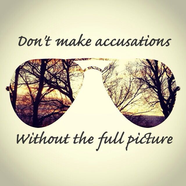 Dont Make Accusations Without The Full Picture