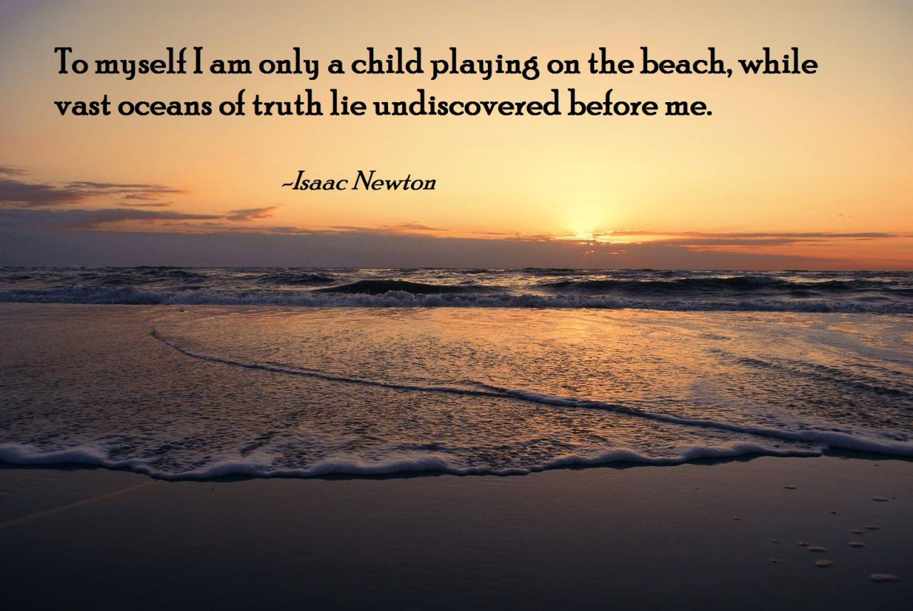 To Myself I Am Only A Child On The Beach While Vast Oceans