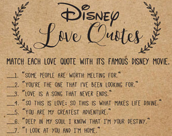 Disney Love Quotes Bridal Shower Game Disney Bridal Shower Games Wedding Shower Game
