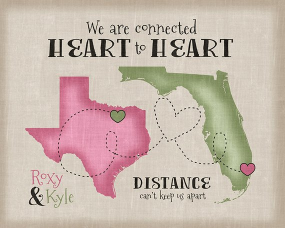 Long Distance Relationship Gift Quote Personalized Art Gift For Boyfriend Girlfriend Husband Wife Friends Army Military Deployment