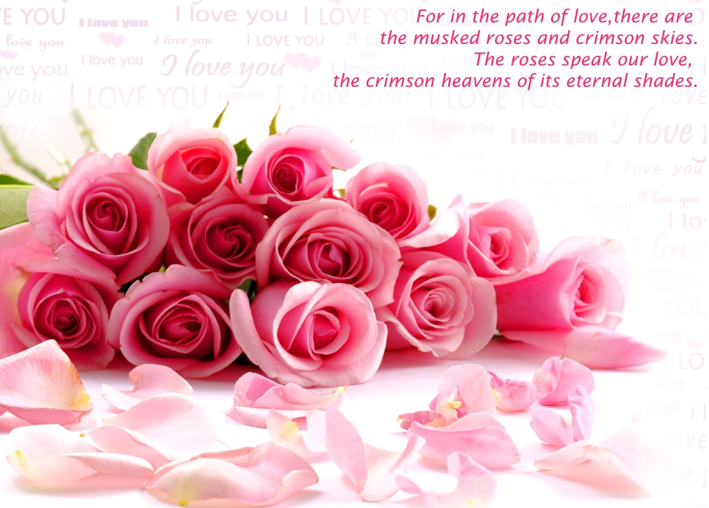 Pink Flowers With Love Quote Home Of Quotes
