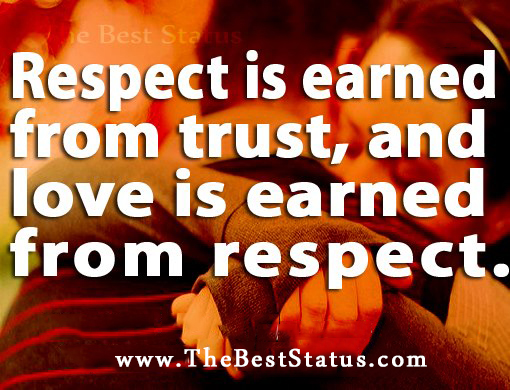 Respect Is Earned From Trust And Love Is Earned From Respect